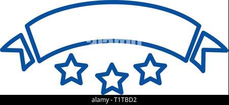 Cinta con estrellas line icono concepto. Cinta plana con estrellas, signo, símbolo de vector ilustración de esquema.
