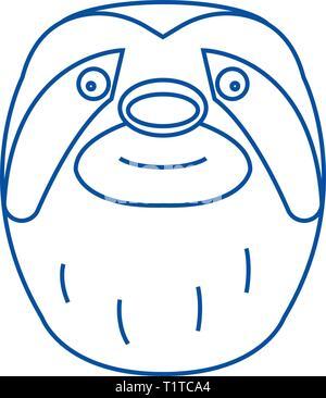 Icono de línea cabeza Sloth concepto. Pereza cabeza plana de símbolos vectoriales, firmar, esbozo de la ilustración.