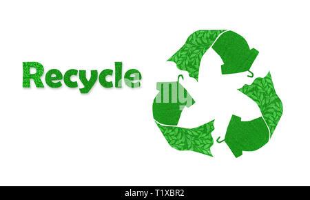 Símbolo de reciclado hecho con camiseta vestido en colgador con texto reciclado, reutilización de textura de tela, ilustración del concepto reutilizar, reciclar ropa y textiles t