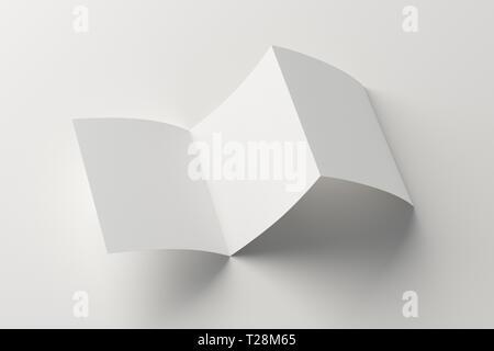 Doblado en tríptico en blanco cuadrado plegado en zig-zag folleto folleto sobre fondo blanco con trazado de recorte alrededor de folleto desplegada. Ilustración 3D