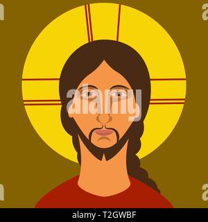 Icono de la cristiandad. Pintura de Jesucristo en estilo plano. Ilustración vectorial