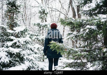 Vista trasera del joven caminando en el bosque de invierno