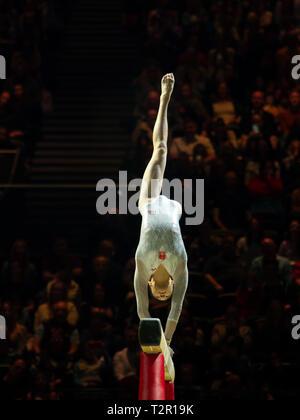 Birmingham, Inglaterra, Reino Unido. 23 de marzo, 2019. China Liu Jieyu en acción durante la competición, haz de la mujer durante el 2019, la Copa del Mundo de gimnasia en la