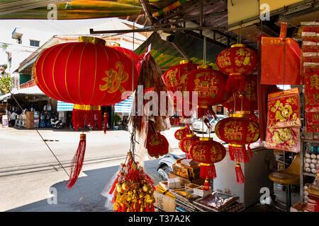 Camboya, Kampong (Kompong Cham), del centro de la ciudad, Año Nuevo Chino, el Festival de Primavera, decoraciones en venta