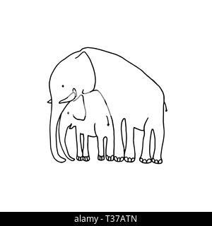 Ilustración vectorial de bebé y madre elefante. Familia de elefantes de dibujos animados