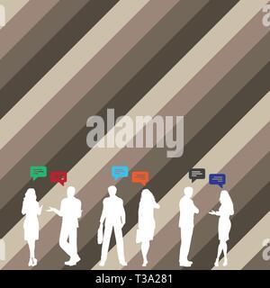Cifras de negocio PeopleTalking silueta con gestos y con diseño de Globo de texto concepto empresarial. Anuncio de negocios para su sitio web y la promoción banners. em