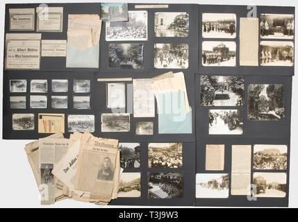 El Primer Teniente Max Immelmann (1890 - 1916), una amplia documentación sobre el accidente y el funeral del héroe en junio de 1916 doce fotos (parcialmente duplicados) de su avión naufragio y 17 fotografías de gran tamaño de la llegada de su ataúd de Douai en Dresden, madre y hermana en la estación, la procesión fúnebre a través de Dresden, el crematorio municipal, Immelmann acostado en estado en la culumbarium Tolkewitz. También varios recortes de periódicos, noticias parcialmente de su accidente, parcialmente relacionados con su muerte en general y parcialmente obituarios e informes fro, No-Exclusive-Uso   Sólo Editorial-Use