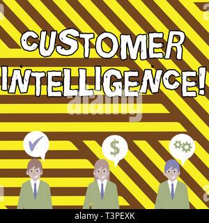 Escritura a mano Conceptual Mostrando la inteligencia de clientes. Concepto Significado proceso de análisis de información sobre los clientes empresarios tiene discurso Bub