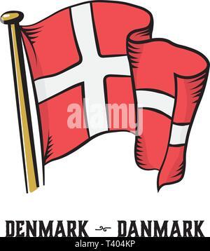 Vintage estilo grabado Dinamarca bandera ilustración vectorial