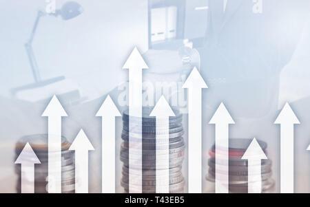 El crecimiento hacia arriba sobre fondo abstracto futurista. Invertir o ahorros para el crecimiento dinero o concepto empresarial.