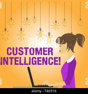 Escribir nota que muestra la inteligencia de clientes. Concepto de negocio para el proceso de análisis de información sobre los clientes foto de joven mujer ocupada quedarte sentado