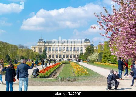 Gran Galería de la evolución, los turistas que visitan Grande Galerie de l'Evolution en el Jardin des Plantes, París, Francia