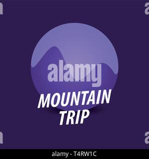 Montaña, viaje redondo logotipo vectorial en violeta