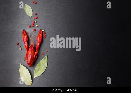 Cangrejo rojo, langosta bebé con hierba para salteado sobre fondo negro