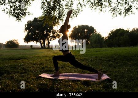 Mujer joven practicando yoga en el parque al atardecer Foto de stock