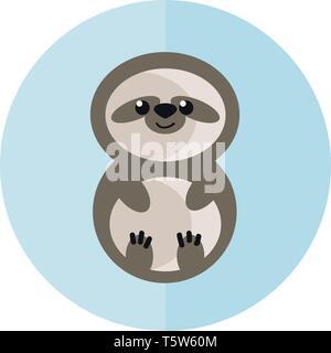 Un bebé sloth vector o ilustración a color
