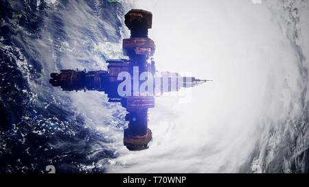 4k de vuelo de la Estación Espacial Internacional por encima de la tierra.