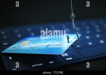 La suplantación de identidad (phishing) los datos de la tarjeta de crédito con el teclado y el símbolo de gancho