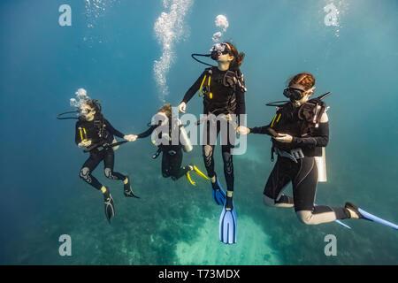 Los buceadores en Roatan Marine Park, West End Wall sitio de buceo; Roatán, Honduras