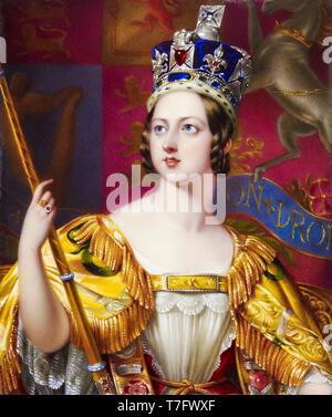 La reina Victoria en su abrigo de coronación con el Estado Imperial Crown, retrato, 1843 Foto de stock