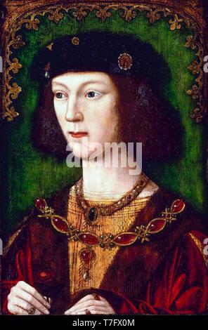 Retrato de Henry VIII de Inglaterra (1491-1547), Escuela de Inglés, c. 1513 Foto de stock