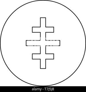 Cruz romana Iglesia papal icono en el círculo de color negro esquema ilustración vectorial tipo plano simple imagen