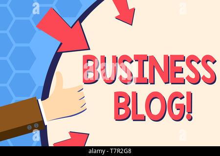 Escribir nota mostrando Blog de negocios. Concepto de negocio dedicado a escribir sobre temas relacionados con la empresa mano gesticulando Thumbs Up celebración