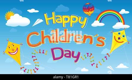 Feliz Día del Niño tarjeta de felicitación. Letras flotando en el cielo rodeado por cometas sonriente, nubes, arco iris, el aerostato globo y aviones de papel
