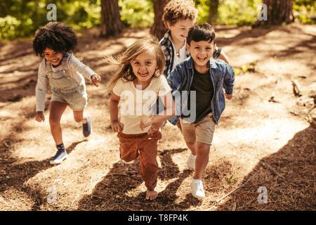 El grupo de cuatro niños corriendo juntos en el bosque. Los niños tienen una carrera para subir colina camino forestal.