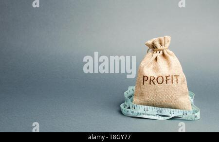 Bolsa de dinero con la palabra lucro y cinta métrica. El concepto de beneficio limitado. La falta de dinero y de la pobreza. Los pequeños ingresos. La reducción de los salarios. Unsuccessfu