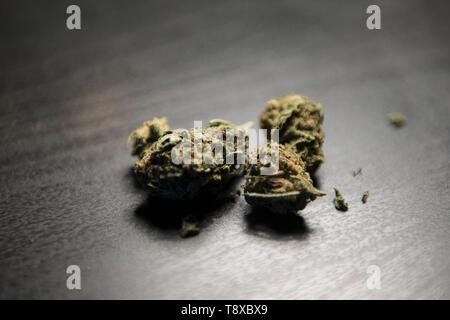 Mayo 13, 2019 - Turín, Piamonte, Italia - Turín, Italy-May 13, 2019: El cannabis legal para la venta en una tienda de tabaco. La marihuana es una sustancia psicoactiva que se obtiene de las inflorescencias secas de plantas de cáñamo hembra. El Delta-9-tetrahidrocannabinol, denominado THC está contenida en todas las variedades de cáñamo, una sustancia que hace que la planta ilegal en muchos países. Hay variedades que puede ser cultivada legalmente para que el límite para este contenido está fijado por la ley. En Italia, la venta legal de cannabis ha sido legalizada, pero en los últimos días Matteo Salvini el ministro italiano del Interior quiere hacer