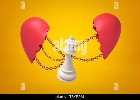 Representación 3D de la Reina blanca de ajedrez encadenado entre dos piezas rotas corazón rojo sobre fondo amarillo