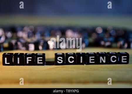 Concepto de ciencias de la vida de los bloques de madera en la mesa. Con el desarrollo personal, la educación y la motivación concepto sobre el fondo borroso Foto de stock