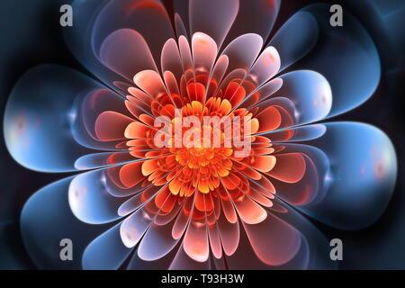 Ilustración de arte fractal abstracto. Pétalos de flores brillantes de color rojo y azul. Fondo oscuro. Hermosa ilustración fractal para un diseño gráfico creativo