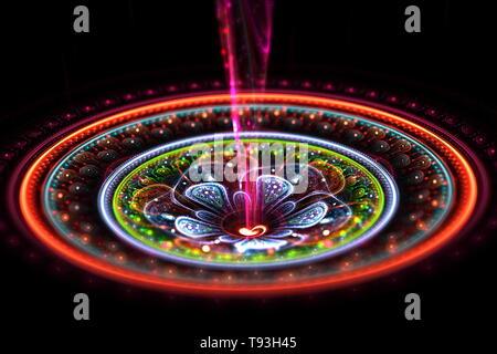 Ilustración de fondo de arte fractal. Mandala abstracta 3d de colores con haz desde el centro sobre fondo oscuro