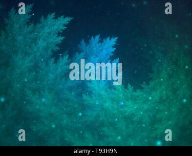 Fondo de arte fractal abstracto con hojas verdes y azules y bokeh sobre fondo oscuro. Hermosa ilustración fractal para un diseño gráfico creativo