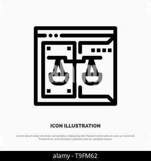 Negocios, Copyright, Tribunal, Digital, Ley Línea Vector icono