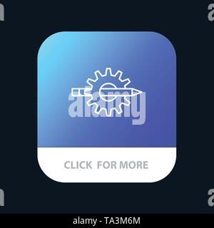 Contenido, escritura, diseño, desarrollo, producción, engranaje móvil App botón. Versión de línea de IOS y Android