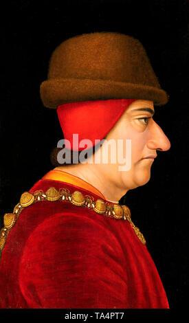 Retrato de perfil de Luis XI, Rey de Francia (1423-1483), vestido con el collar de la orden de Saint-Michel, circa 1470