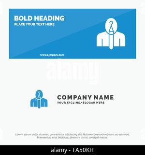 Anónimo, artista, autor, autoría, creativo icono sólido Sitio web Banner y plantilla de logotipo de empresa