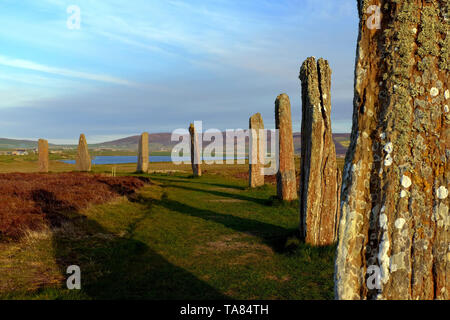 Las Islas Orkney, Continental, el neolítico piedras del anillo de Brodgar al atardecer el 8 de mayo de Escocia - 19th. Viaje por Escocia Foto Samantha Z