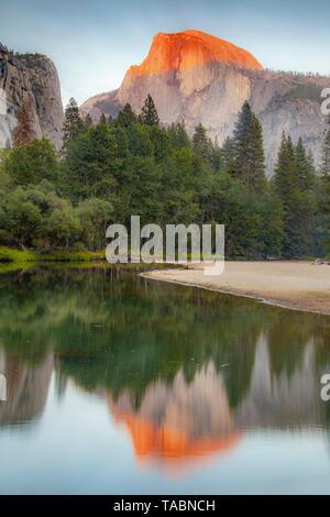 Pintoresco de Half Dome y río Merced, reflexiones, el Parque Nacional Yosemite, California, USA, por Bill Lea/Dembinsky Foto Assoc