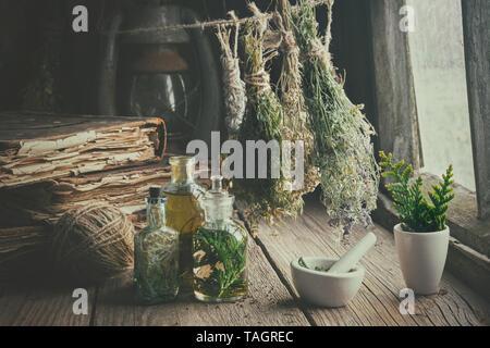 Botellas de infusión, libros antiguos, mortero y colgando los manojos de hierbas medicinales secas. La medicina herbaria. De estilo retro.