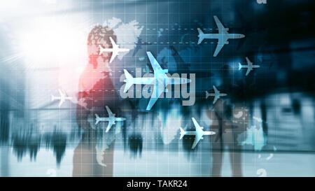 Concepto de viaje aéreo. Avión en el mapa del mundo Blured antecedentes comerciales