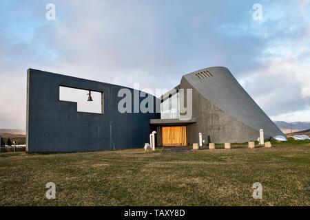 La iglesia en Blönduós, al norte de Islandia, fue diseñado por el arquitecto Maggi Jónsson en 1993 para parecerse a un cráter volcánico