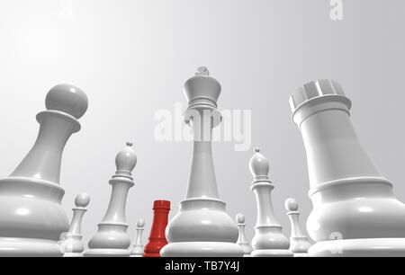 Representación 3D de piezas de ajedrez que rodea uno del equipo opuesto