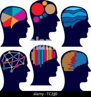 Ilustración vectorial. Seis iconos del cerebro en el plano de color y estilo. Foto de stock