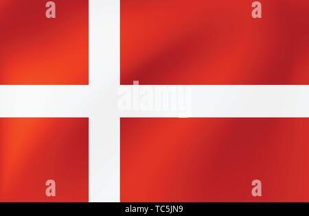 Vector bandera nacional de Dinamarca. Ilustración para la competición deportiva, tradicionales o los eventos de estado.