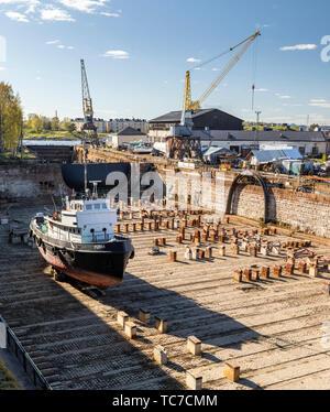 Histórica del Siglo XVIII, el Dique Seco Suomenlinna, Helsinki, Finlandia Foto de stock