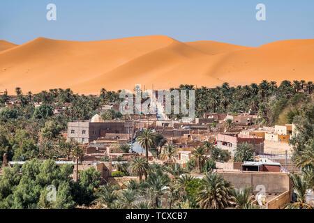 Vistas del oasis de palmeras en Beni Abbes, el Sahara, Argelia, Norte de África, África